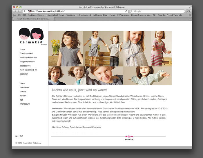karmakid – kidswear / Webauftritt mit Warenkorbfunktion